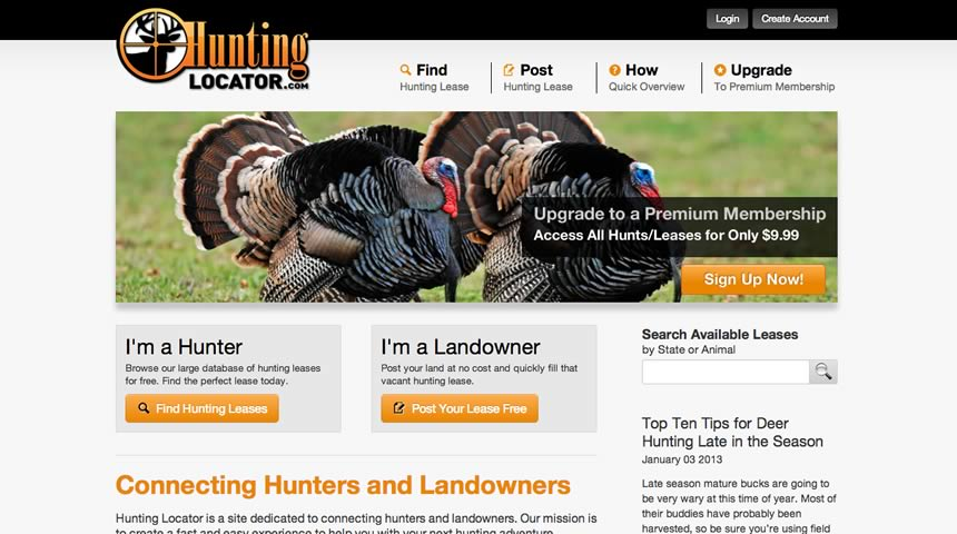 web design for hunting locator